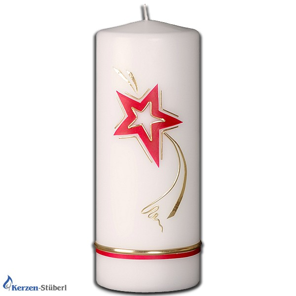 Weihnachtskerzen-Adventskerzen-Rot-Gold-Stern-Christmas-Candle
