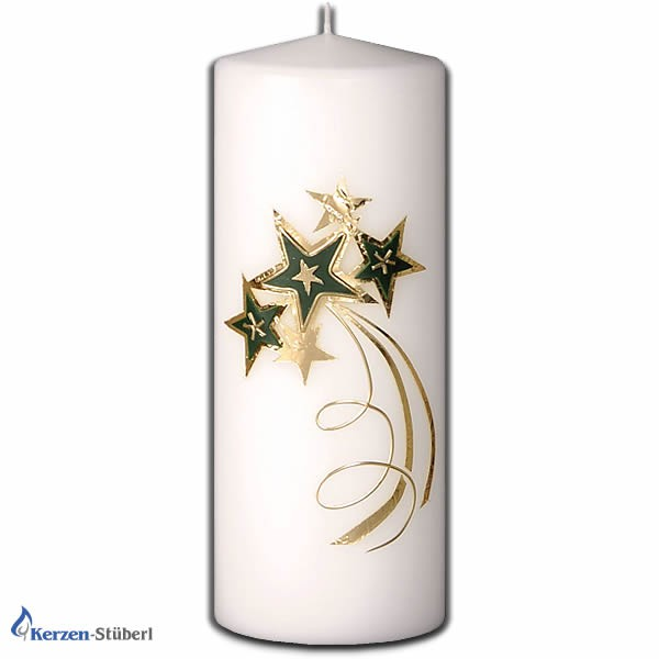 Weihnachtskerzen-Adventskerzen-Grün-Gold-Stern-Christmas-Candle