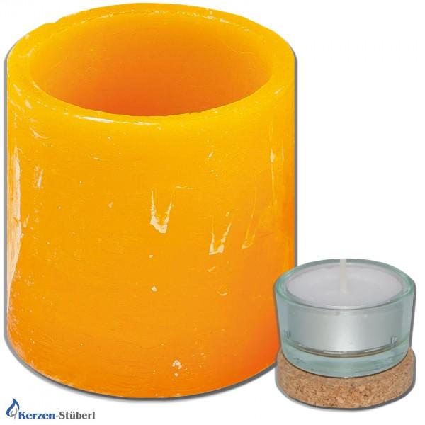 Windlicht - Wachswindlicht - Zylinder | Orange Test