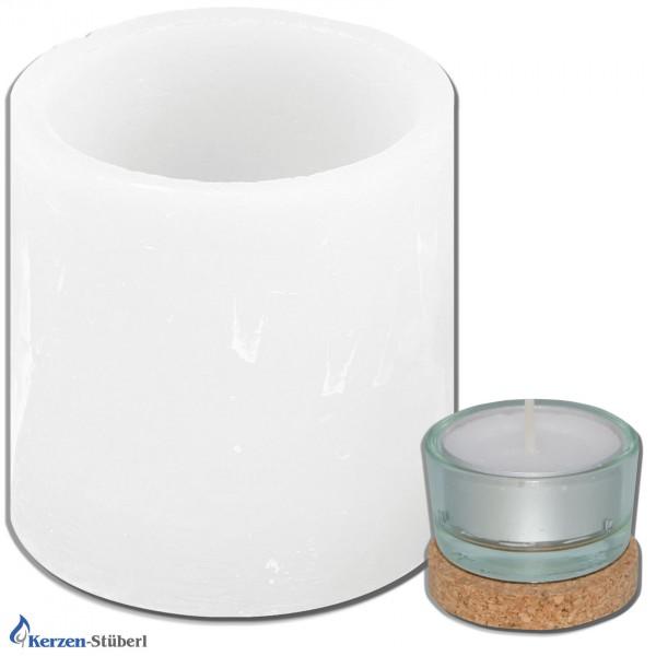 Windlicht - Wachswindlicht - Zylinder | Weiß