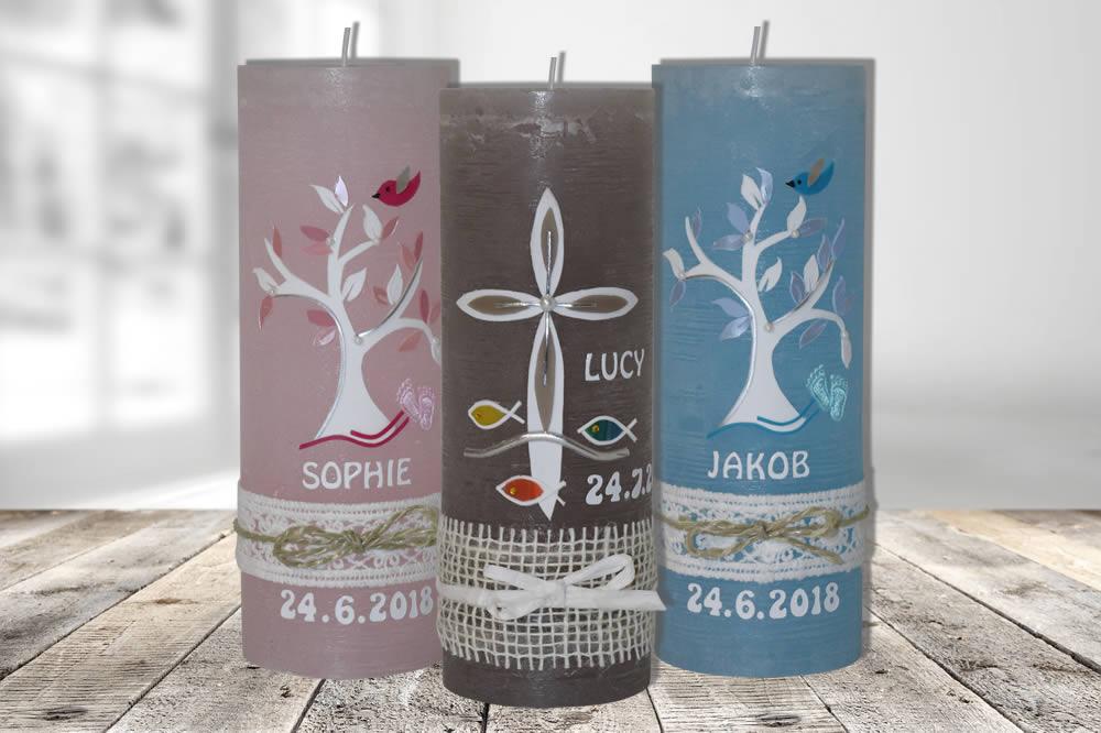 Vintage Taufkerze für Mädchen und Jungen   Kerzen-Stüberl