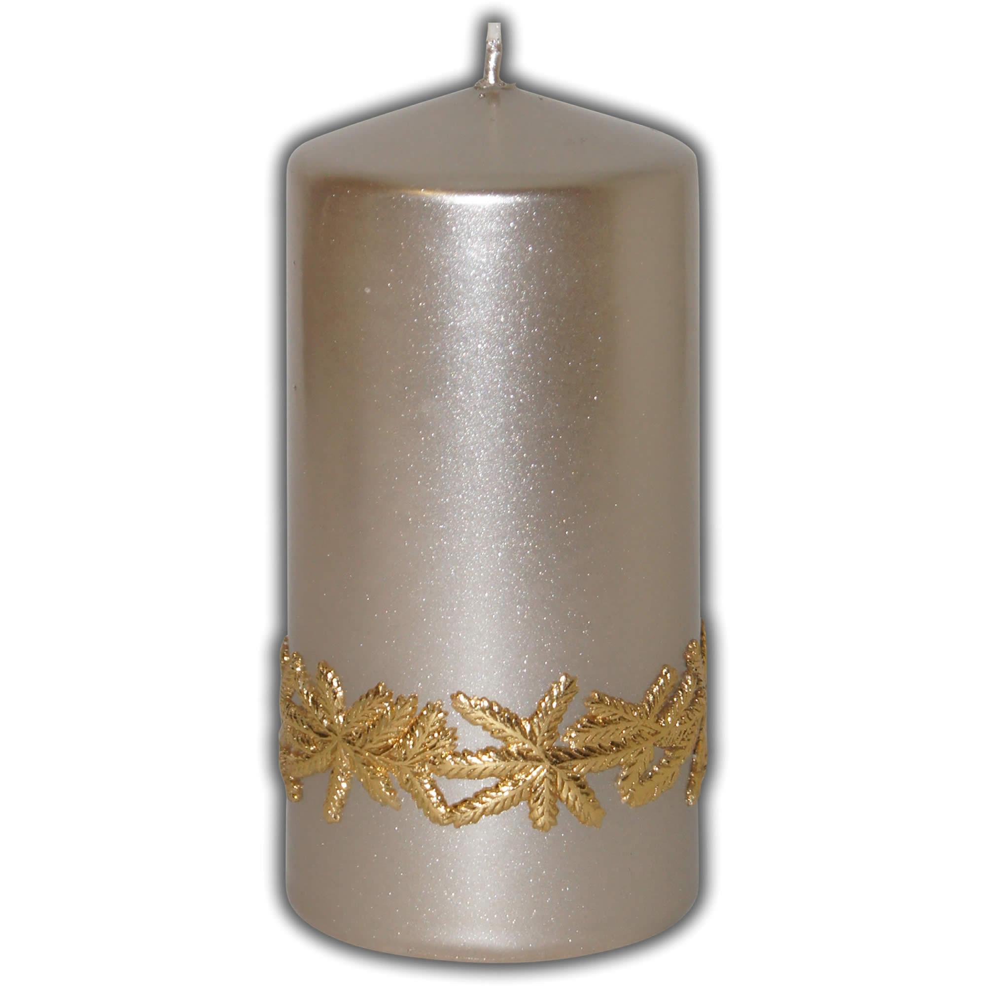 Adventskerze weihnachtsdeko kerze silber metallic for Weihnachtsdeko silber