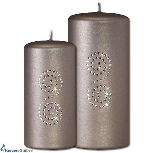 weihnachtskerzen adventskerzen mit swarovski kristalle grau metallic kerzen st berl. Black Bedroom Furniture Sets. Home Design Ideas